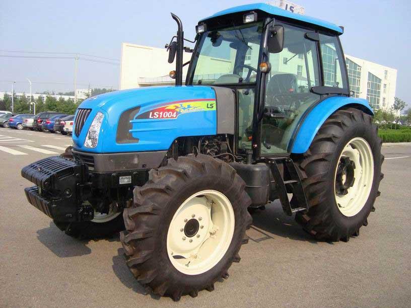 蓝色的青岛乐星LS1004拖拉机带驾驶室-农机图