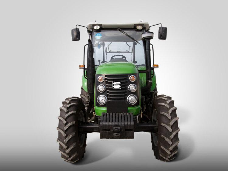 强劲动力,性能好   匹配名优国发动机,动力强劲,可靠性高、扭矩储备系数大;   变速箱档位16F+8R,爬行器16F+8R、选装8F+4R,速度匹配合理、农艺适应性强、作业效率高、燃油经济性好;   加强型双速动力输出,配套机具范围广,可靠性高。采用双油缸强压式提升装置,提升力大,更适应配套大型机具进行农田作业;   选装配置:2组液压输出;可选装气制动装置,满足运输等其它作业要求;   新一代流线型机罩美观大气,满足安全、防尘、降噪、散热等性能要求。 安全稳妥,可靠性强   采用侧置操纵机