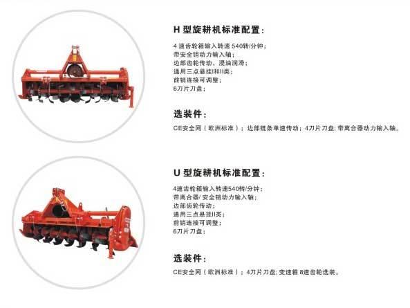 马斯奇奥H、U型旋耕机标准配置表