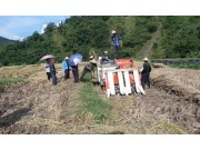 田林县农机局举行水稻生产全程机械化机收现场会